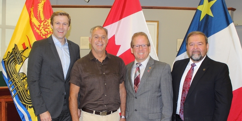 From left: Gallant; Grand Falls Mayor Marcel Deschênes; Victoria-La Vallée MLA Chuck Chiasson and Justice and Public Safety Minister Denis Landry.