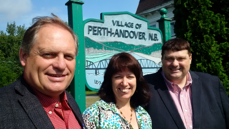 From left: Carleton-Victoria MLA Andrew Harvey; Perth-Andover Mayor Marianne Bell; and Transportation and Infrastructure Minister Bill Fraser.