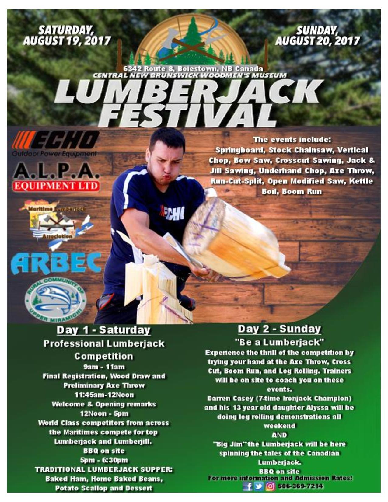 Lumberjacks are Gathering in Boiestown for Lumberjack Festival at the Woodmen's Museum