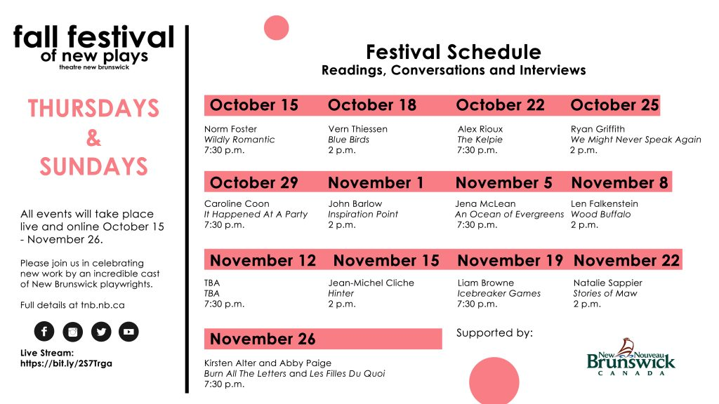 Fall Festival of New Plays – Event Schedule